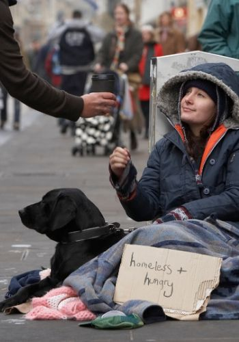 Homeless Girl Begging