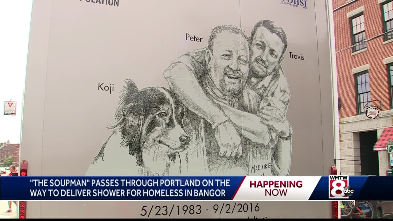Soupman Passes Through Banger with Shower for Homeless